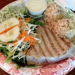 Ahi grilled fish plate.