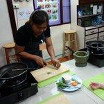 Preparing green curry paste