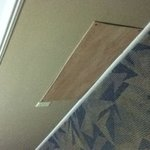 Plywood covering holes in walls and vent spaces