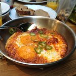 Eggs with harissa and botargo