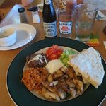 The Fajitas del Mar plate (with Belikin Beer)