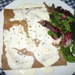 Salmon, potato and blue cheese cream sauce galette