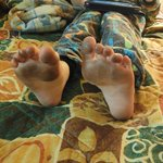 my sons feet from walking in the room, wear shoes!!