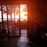 Sunset with fireplace warming up the room...