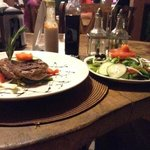 Steak,with the best salad in Panama