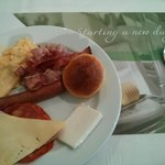 Some of the items on offer at the breakfast buffet