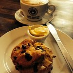 Freshly made scone and perfect cappuccino!