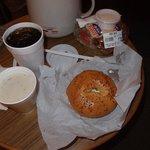 アイスコーヒー、クラムチャウダー、ベーグルサンドもGood!
