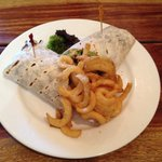 Beef & salad wrap with curly fries!!