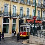Hotel front and street car