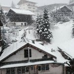 View from a room at the front of the chalet with SNOW!