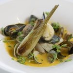 Wild Sea Bass, Clam & Saffron Broth