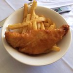 Room service fish and chips from the kids menu-with bones!
