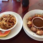 BBQ Pulled Pork Spaghetti and Bacon Wrapped Grilled Shrimp.