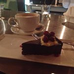 Pure Chocolate cake, a chocolate lovers dream! The cappuccino paired so nicely with it!