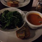 Mussels with rocket salad in cream sauce & prawn and smoked salmon bisque