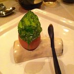 Fried Basil leave on egg shell