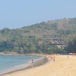 Nai Thon beach with hotel at end