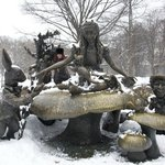 Alice in Wonderland in a snowy Central Park