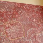 The chalkboard at the wall of the shop
