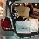 The spoils of a hard days shopping. At camarillo premium outlet, Los Angeles, California. USA.