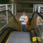 escalator to skyway (bridge between hotel & garage)