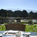 View of mountain at breakfast time