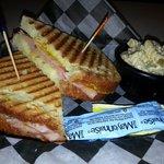 Cuban sandwich with side of Greek pasta salad.