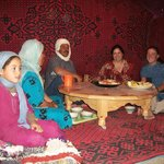 Dining with Ahmed and his family in a Bedouin tent.