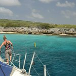Babette securing a mooring for snorkelling