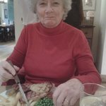 Mum with gammon,pineapple and chips.