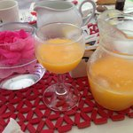 Suco de laranja feito na hora.