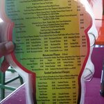 One page of the menu-all prices Belize dollars