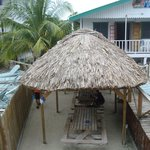 Walkway between two pool areas with palapa and picnic tables