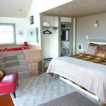King bed,fireplace,deep jetted tub,private deck with beautiful view