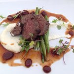 Elk with veal reduction cherry Demi.