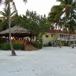 View from beach of the outdoor bar and restaraunt building.