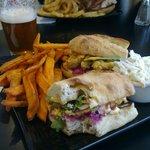 Fried Oyster Po'Boy sandwich, sweet potato fries and coleslaw