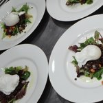 First coarse salad. Greens, Lentils, Poached Egg.