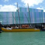 Double hulled sailing waka outside Maritime Museum