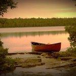 Our rental canoe on Cyprus lake