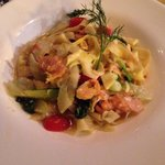 Chef choice - smoked salmon with fettuccine in a lemon cream sauce with fennel