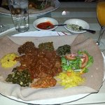 Typical meal at Major Ethiopian restaurant