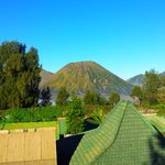 Mount Batok and the hotel roofs