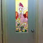 Tacky bathroom door stained glass