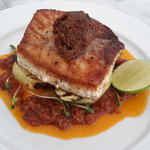 Seared Swordfish, Tomato Frito & Bacon Jam