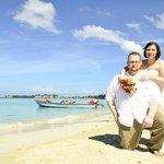 wedding photo on beach