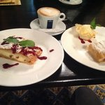 Cheese & Apple Strudel with cappuccino