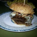 A double patty Gorgonzola burger with walnuts and cranberries.