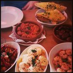 Spanish Tapas, meatballs, prawns, chicken, potatoe, garlic bread and chorizo